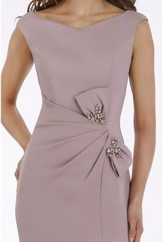 Gia Franco - 12921 Embellished Bateau Trumpet Dress With Slit – Couture Candy Elegant Dresses For Women, Pretty Dresses, Beautiful Dresses, Casual Dresses, Fashion Dresses, Bride Dresses, Swag Fashion, 3d Fashion, Necklines For Dresses