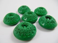 Vintage buttons - Lot of 6 Vintage Dome Carved Chunky Green Plastic Buttons *** P-133 by TheTreasureBoxOrna on Etsy