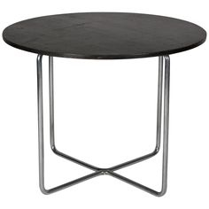 Chrome and Wood Occasional Table by Mies Van der Rohe $6500