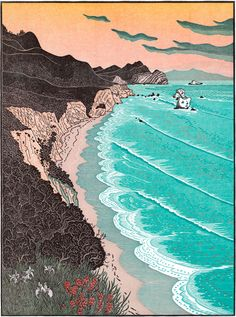 Tom Killion's Woodcut Prints of the California Landscape, Japanese-style handmade limited edition prints and handmade books from the Quail Press, including scenes from the California Coast, High Sierra, Mt. Illustrations, Illustration Art, Japanese Water, California Coast, Northern California, Japanese Prints, Sculpture, Woodblock Print, Graphic