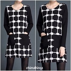 Patchwork dress❤️runs 1 size small You simply cannot go wrong here😃. Black and white round neck dress with two front pockets and solid long sleeves.  Great with tights and boots!!! Above the knee style. Very body flattering 😍 hand wash. Drip/ hang dry. This dress has some good stretch to it. 👍🏻 Boutique Dresses