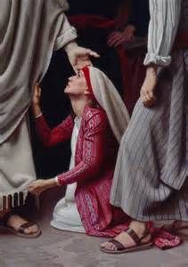 Simon Dewey The woman healed by touching the hem of Jesus' garment. Bible Pictures, Jesus Pictures, Jesus Pics, Wunder Von Jesus, Simon Dewey, Jesus E Maria, Religion, Biblical Art, My Jesus