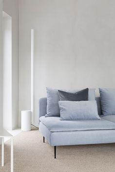 Scandinavian minimalist living room | grey velvet sofa | Wästbergs floor lamp | IKEA Söderhamn sofa with a Bemz cover in Silver Grey Simply Velvet