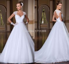 Simple Elegant White Organza Lace Princess Wedding Dresses 2015 Sweetheart Open Back Cheap Bridal Dress With Short Sleeve