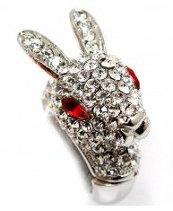 Rhodium plated Rabbit Ring encrusted with clear crystals. Strectches to any size.  Lead and nickel compliant.  Height : 8/5 inch tall