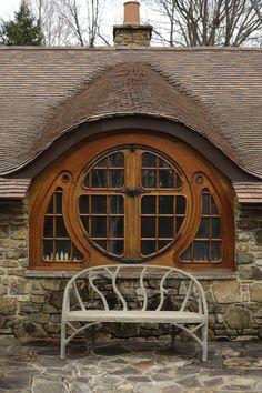 Beautiful custom Hobbit House window