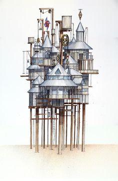 Zenobia. Las ciudades invisibles. Sakerinox Athens Hotel, Happy City, Invisible Cities, Inspiration Design, Virtual Art, City Illustration, Architecture Drawings, Arte Pop, City Maps