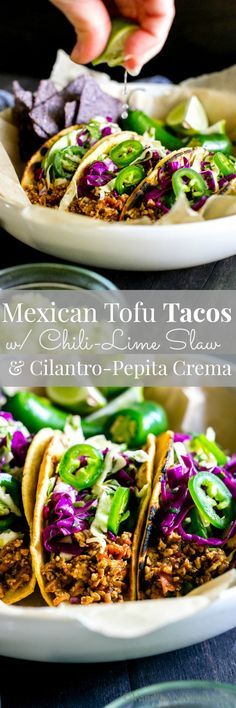 Mexican-Inspired Tofu Tacos with Chili-Lime Slaw and Cilantro-Pepita Crema | Vegan + Optionally GF
