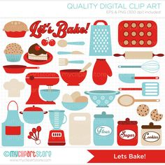 Lets Bake / Kitchen Utensils Clip Art / Digital by MyClipArtStore, $4.00