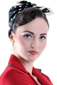 Pin up curl with a polka-dot scarf<3
