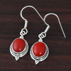 """CORAL SOLID 925 STERLING SILVER EARRING 4.62g DJER3454 L-1.30"""" #Handmade #EARRING"""