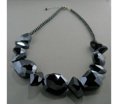 Midnight Blue Faceted Glass Crystal Necklace, $45.0