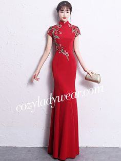 Floor Length Mermaid Embroidered Qipao /Cheongsam Wedding Dress