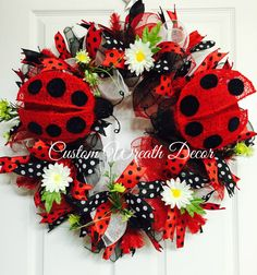 PRICED REDUCED Ladybug Wreath Red and Black by CustomWreathDecor