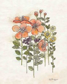Coral Flowers Print 8x10 - Rustic Flower Wall Art, Botanical Artwork, Coral Flowers Art via Etsy
