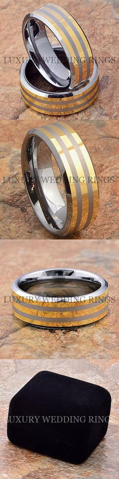 Other Wedding and Anniv Bands 92866: Tungsten Wedding Bands Rings Mens And Womens 14K Gold Lines Jewelry Size 6-13 BUY IT NOW ONLY: $66.4