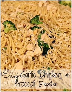 Easy Garlic Chicken and Broccoli Pasta - seriously one of the easiest dinners ever AND my whole family will eat it (and leftovers are great for school lunch too!) by eddie Chicken Broccoli Pasta, Garlic Chicken, Bbq Chicken, Broccoli Bake, Asparagus Pasta, Garlic Pasta, Cooked Chicken, I Love Food, Good Food
