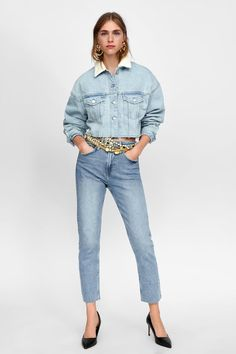 fb07a0989c3 Image 1 of AUTHENTIC CONTRASTING DAMAGED DENIM JACKET from Zara Shearling  Jacket