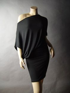 Black Blouson Off The Shoulder Asymmetric Boat Neck Women Lounge 74 ac Dress L