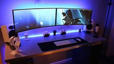 My Dual Ultrawide Curved Monitors setup all run by my late 2012 Mac Mini! Computer Desk Setup, Gaming Room Setup, Pc Setup, Pc Desk, Gaming Chair, Double Monitor Setup, Monitor Stand, Custom Pc, Home Office Setup