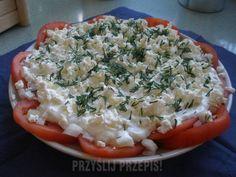Grecka sałatka pomidorowa - PrzyslijPrzepis.pl Quiche, Kitchen Design, Grilling, Food And Drink, Chicken, Breakfast, Diet, Greek, Morning Coffee