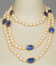 CHANEL Baroque Pearl and Gripoix Sautoir | From a unique collection of vintage beaded necklaces at https://www.1stdibs.com/jewelry/necklaces/beaded-necklaces/