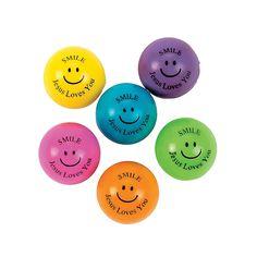 Smile Jesus Loves You Bouncing Balls - OrientalTrading.com