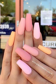 23 nail designs and ideas for coffin acrylic nails + # coffin .- 23 nail designs and ideas for coffin acrylic nails + # coffin # for # … – # acrylic nails - Matte Pink Nails, Coffin Nails Matte, Peach Nails, Aycrlic Nails, Best Acrylic Nails, Cute Nails, Hair And Nails, Pastel Nails, Coffin Acrylics