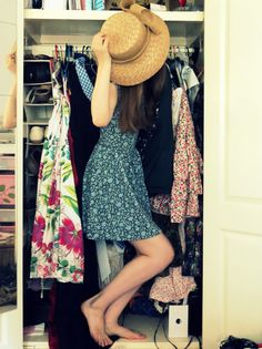 """Day 2: What You Wore. Me """"hiding"""" inside my wardrobe! Edited in Picasa, taken with self-timer. By Phthalo Green"""