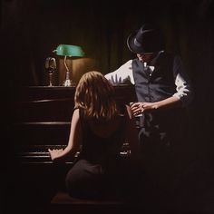 Richard Blunt artist - Play it Again, Artmarket Contemporary Art Gallery Fabian Perez, Blunt Art, Ville Rose, Jack Vettriano, Romance Art, Pulp Art, Pulp Fiction, Aesthetic Pictures, Love Art