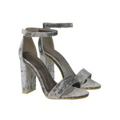 Grey Velvet Block High Heel Barely There Strappy Sandals - Yonce