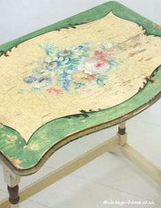 Vintage Home Shop - Pretty 1930s Hand Painted Roses and Passion Flowers Table: www.vintage-home.co.uk