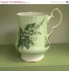 On Sale Vintage Royal Windsor Mint Green Lily of the Valley Mug, May Birth Flower, Bone China, Made in England