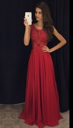 2016 Modest Red Long Prom Dresses Sleeveless Lace Appliques Beaded Chiffon…