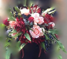 Large Silk Bouquet Christy Marsala Deep Red Navy by jewelfeathers **with ivory instead of pink Navy And Burgundy Wedding, Burgundy Wedding Flowers, Winter Wedding Flowers, Wedding Table Flowers, Fall Wedding Bouquets, Fall Wedding Colors, Flower Bouquet Wedding, Floral Wedding, Trendy Wedding