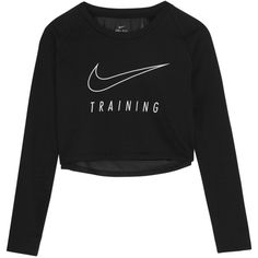 Nike Cropped printed Dri-FIT cotton-blend jersey and mesh sweatshirt ($84) ❤ liked on Polyvore featuring activewear, activewear tops, black, nike sportswear, nike, nike activewear and cotton jersey