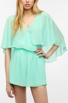 Pins And Needles Chiffon Flutter Sleeve Romper  #UrbanOutfitters.....love this one piece romper in mint!