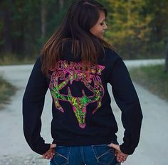 Look great and keep warm in the Country Life Black And Pink Skull Hoodie from www.countrylifeoutfitters.com