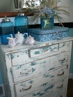 Shabby Chic Turquoise under the White