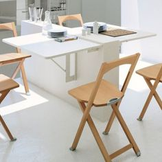 Furniture, White Stained Folding Kitchen Table Light Wood Folding Dining Chairs White Floor Glass Bottles: Awesome and Appealing Folding Kitchen Table Folding Kitchen Table, Folding Dining Chairs, Small Kitchen Tables, Table For Small Space, Modern Dining Table, Folding Tables, Small Spaces, Small Apartments, Dining Tables