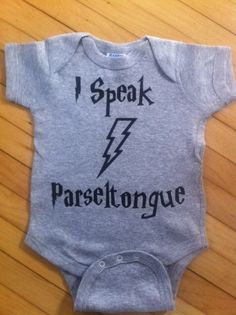 "Cute Harry Potter Inspired I Speak Parsel Tongue Baby Body Suit One Piece Creeper- Pick Your Color. Pick Your Size. by StellasShoppe on Etsy <a href=""https://www.etsy.com/listing/117558239/cute-harry-potter-inspired-i-speak"" rel=""nofollow"" target=""_blank"">www.etsy.com/...</a>"
