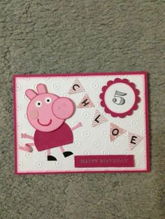 Peppa Pig Card; punch art; Stampin Up CASE