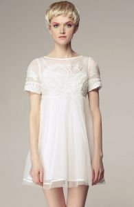White Short Sleeve High Waist Princess Embroidered Floral Dress