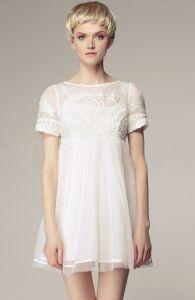 White Short Sleeve High Waist Princess Embroidered Floral Dress $69.3