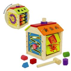 A multi functional educational toy features a clock, picture matching, shape sorter, block hammering, an abacus and a slider. Produced from sustainable rubberwood and non toxic paints.