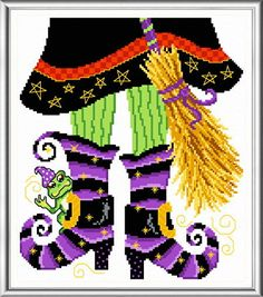 Witch Boots - cross stitch pattern designed by Ursula Michael. Category: Halloween.