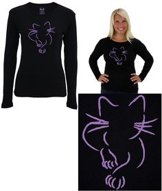 Sketch Artist Cat Long Sleeve Top - From $21.95 - Funds 28 bowls of food - ☆Special Selection-- one of our favorites! Check out this cozy cat emblazoned in vibrant lavender across our fitted long sleeved tee...long whiskers, sharp claws, and pointy ears -- when it comes to felines, there's no mistaking their characteristics! 100% cotton; Fitted cut; Designed exclusively for The Animal Rescue Site