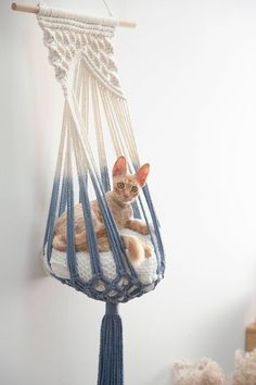 # Crochet for interior decoration Macrame cat hammock Woven wall hanging do .- You for the interior decoration Macrame cat hammock Woven wall hanging dog bed Dip dye macrame cat swing Cat lover birthday gifts boho large pet furnitures supplies toys - Macrame Design, Macrame Art, Macrame Projects, Macrame Knots, Macrame Supplies, Macrame Mirror, Macrame Curtain, Woven Wall Hanging, Hanging Hammock