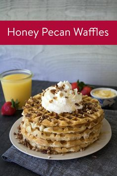 These waffles filled with toasted pecans and honey are perfect for a ...