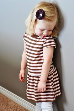 Turn a large tshirt into a toddler dress